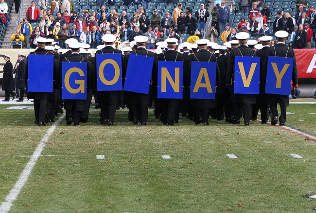 PHILADELPHIA - DECEMBER 11: The Navy Midshipmen march off the field before the game against the Army Black Knights on December 11, 2010 at Lincoln Financial Field in Philadelphia, Pennsylvania. (Photo by Hunter Martin/Getty Images)