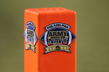 PHILADELPHIA - DECEMBER 11: A view of the Army-Navy game logo on a pylon during a game between the Navy Midshipmen and the Army Black Knights on December 11, 2010 at Lincoln Financial Field in Philadelphia, Pennsylvania. The Midshipmen won 31-17. (Photo b