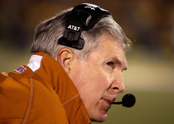 COLUMBIA, MO - OCTOBER 24:  Head coach Mack Brown of the Texas Longhorns looks on during the game against the Missouri Tigers on October 24, 2009 at Faurot Field/Memorial Stadium in Columbia, Missouri.  (Photo by Jamie Squire/Getty Images)