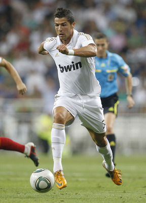 MADRID, SPAIN - AUGUST 24:  Cristiano Ronaldo of Real Madrid in action during the Santiago Bernabeu Trophy match between Real Madrid and Galatasaray at Estadio Santiago Bernabeu on August 24, 2011 in Madrid, Spain.  (Photo by Angel Martinez/Getty Images)