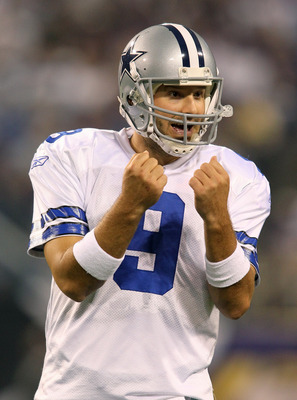 MINNEAPOLIS, MN - AUGUST 27: Quarterback Tony Romo #9 of the Dallas Cowboys motions during a time out in the pre-season game against the Minnesota Vikings at Mall of America Field on August 27, 2011 in Minneapolis, MN.  (Photo by Adam Bettcher /Getty Imag