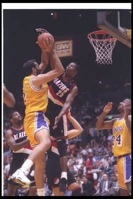 15 Apr 1994:  Forward Jerome Kersey of the Portland Trail Blazers blocks a shot during a game against the Los Angeles Lakers at the Great Western Forum in Inglewood, California. Mandatory Credit: Stephen Dunn  /Allsport Mandatory Credit: Stephen Dunn  /Al