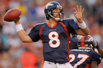 DENVER, CO - AUGUST 20:  Quarterback Kyle Orton #8 of the Denver Broncos passes against the Buffalo Bills during the first quarter at Sports Authority Field at Mile High on August 20, 2011 in Denver, Colorado. (Photo by Justin Edmonds/Getty Images)