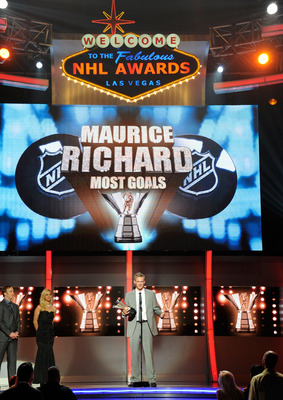 LAS VEGAS, NV - JUNE 22:  Corey Perry of the Anaheim Ducks accepts the Maurice 'Rocket' Richard Trophy during the 2011 NHL Awards at The Pearl concert theater at the Palms Casino Resort June 22, 2011 in Las Vegas, Nevada.  (Photo by Ethan Miller/Getty Ima