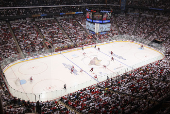 GLENDALE, AZ - APRIL 20:  General view of action between the Detroit Red Wings and the Phoenix Coyotes in Game Four of the Western Conference Quarterfinals during the 2011 NHL Stanley Cup Playoffs at Jobing.com Arena on April 20, 2011 in Glendale, Arizona
