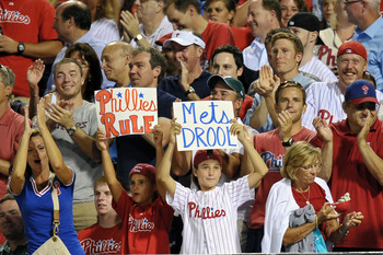 PHILADELPHIA, PA - AUGUST 23: Fans cheer during the game between the New York Mets and Philadelphia Phillies at Citizens Bank Park on August 23, 2011 in Philadelphia, Pennsylvania. (Photo by Drew Hallowell/Getty Images)