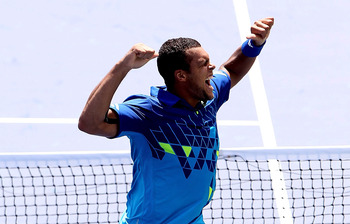 MASON, OH - AUGUST 16:  Jo-Wilfried Tsonga of France celebrates his win over Marin Cilic of Croatia during the Western & Southern Open at the  Lindner Family Tennis Center on August 16, 2011 in Mason, Ohio.  (Photo by Matthew Stockman/Getty Images)