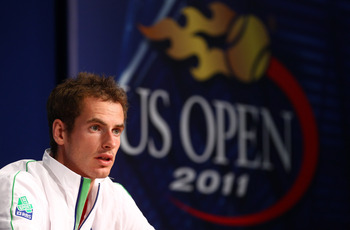 NEW YORK, NY - AUGUST 27:  Andy Murray of Great Britain talks to the media during previews at USTA Billie Jean King National Tennis Center on August 27, 2011 in New York City.  (Photo by Julian Finney/Getty Images)