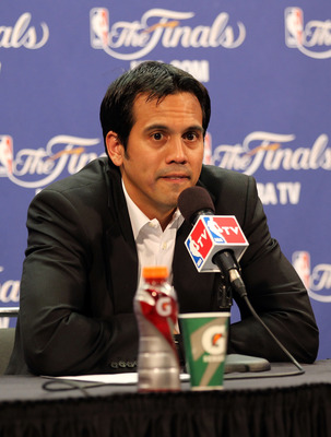 MIAMI, FL - JUNE 12:  Head coach Erik Spoelstra of the Miami Heat answers questions from the media after the Dallas Mavericks won 105-95 in Game Six of the 2011 NBA Finals at American Airlines Arena on June 12, 2011 in Miami, Florida. NOTE TO USER: User e