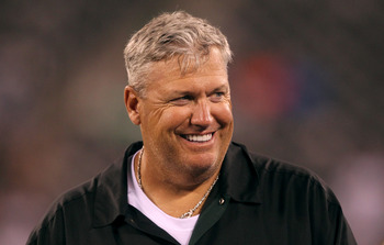 EAST RUTHERFORD, NJ - AUGUST 21:  Rex Ryan, Head Coach of the New York Jets looks on against the Cincinnati Bengals during their pre season game on August 21, 2011 at the New Meadowlands Stadium in East Rutherford, New Jersey.  (Photo by Al Bello/Getty Im