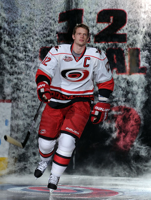 RALEIGH, NC - JANUARY 29:  Eric Staal #12 of the Carolina Hurricanes is introduced during the Honda NHL SuperSkills competition part of 2011 NHL All-Star Weekend at the RBC Center on January 29, 2011 in Raleigh, North Carolina.  (Photo by Harry How/Getty