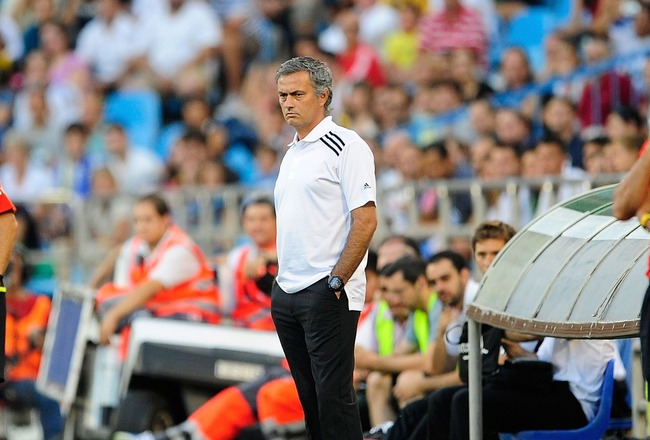 ZARAGOZA, SPAIN - AUGUST 28:  Head coach Jose Mourinho looks on as his team play Real Zaragoza in  the La Liga match between Real Zaragoza and Real Madrid at estadio La Romareda on August 28, 2011 in Zaragoza, Spain.  (Photo by Denis Doyle/Getty Images)