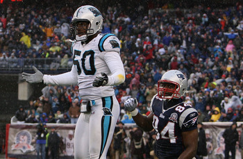 FOXBORO, MA - DECEMBER 13:  James Anderson #50 of the Carolina Panthers reacts after he was called for pass interference against Benjamin Watson #84 of the New England Patriots at Gillette Stadium on December 13, 2009 in Foxboro, Massachusetts. (Photo by