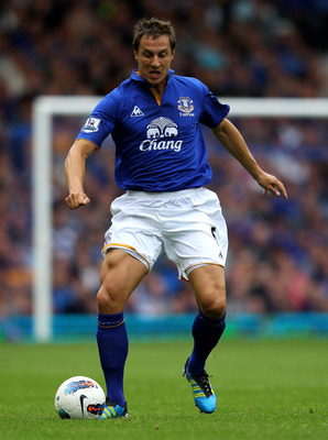 LIVERPOOL, ENGLAND - AUGUST 20:   Phil Jagielka of Everton in action during the Barclays Premier League match between Everton and Queens Park Rangers at Goodison Park on August 20, 2011 in Liverpool, England.  (Photo by Alex Livesey/Getty Images)