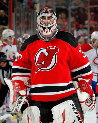 NEWARK, NJ - APRIL 02:  Goalie Martin Brodeur #30 of the New Jersey Devils looks up during a timeout in an NHL hockey game against the Montreal Canadians at the Prudential Center on April 2, 2011 in Newark, New Jersey.  (Photo by Paul Bereswill/Getty Imag