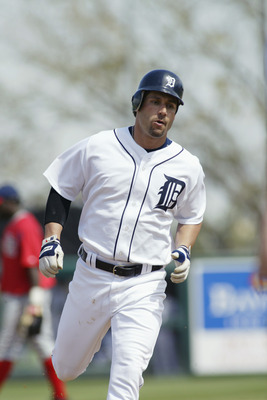 LAKELAND, FL - MARCH 7:  Outfielder Bobby Higginson #4 of the Detroit Tigers rounds the bases against the Washington Nationals during a Spring Training game on March 7, 2005 at Marchant Stadium in Lakeland, Florida. Washington won 6-5.  (Photo by Rick Ste
