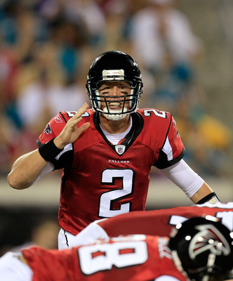 JACKSONVILLE, FL - AUGUST 19:  Quarterback Matt Ryan  #2 of the Atlanta Falcons calls a signal during a game against the Jacksonville Jaguars at EverBank Field on August 19, 2011 in Jacksonville, Florida.  (Photo by Sam Greenwood/Getty Images)