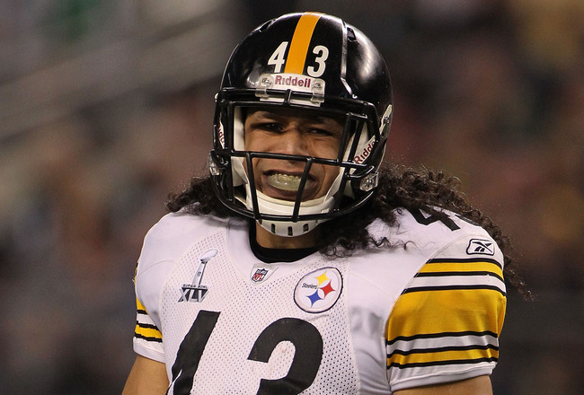 ARLINGTON, TX - FEBRUARY 06:  Troy Polamalu #43 of the Pittsburgh Steelers looks on against the Green Bay Packers during Super Bowl XLV at Cowboys Stadium on February 6, 2011 in Arlington, Texas.  (Photo by Doug Pensinger/Getty Images)