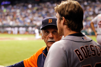ST. PETERSBURG, FL - AUGUST 24:  Manager Jim Leyland #10 of the Detroit Tigers talks with outfielder Brennan Boesch #26 during the game against the Tampa Bay Rays at Tropicana Field on August 24, 2011 in St. Petersburg, Florida.  (Photo by J. Meric/Getty