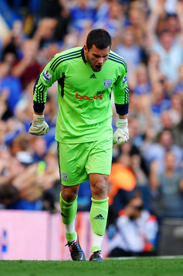 LONDON, ENGLAND - AUGUST 20:  Goalkeeper Ben Foster of West Brom reacts after he is beaten by the shot from Nicolas Anelka of Chelsea to level the scores at 1-1 during the Barclays Premier League match between Chelsea and West Bromwich Albion at Stamford