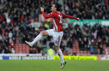 STOKE ON TRENT, ENGLAND - JANUARY 08:  Tuncay Sanli of Stoke City celebrates after scoring the 1-1 equaliser during the FA Cup Sponsored by E.ON 3rd Round match between Stoke City and Cardiff City at Britannia Stadium on January 8, 2011 in Stoke on Trent,