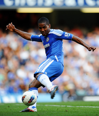 LONDON, ENGLAND - AUGUST 20:  Florent Malouda of Chelsea takes a shot on goal during the Barclays Premier League match between Chelsea and West Bromwich Albion at Stamford Bridge on August 20, 2011 in London, England.  (Photo by Laurence Griffiths/Getty I