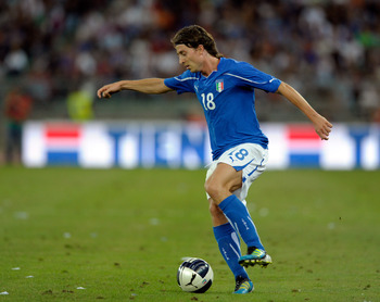 BARI, ITALY - AUGUST 10:  Riccardo Montolivo of Italy in action during the international friendly match between Italy and Spain at Stadio San Nicola on August 10, 2011 in Bari, Italy.  (Photo by Claudio Villa/Getty Images)