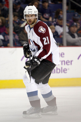 COLUMBUS, OH - FEBRUARY 11:  Peter Forsberg #21 of the Colorado Avalanche skates with the puck during a game against the Columbus Blue Jackets on February 11, 2011 at Nationwide Arena in Columbus, Ohio. (Photo by John Grieshop/Getty Images)