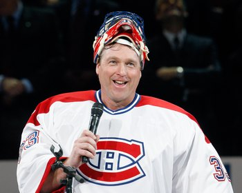 MONTREAL- DECEMBER 4:  Former Montreal Canadien Patrick Roy speaks to fans during the Centennial Celebration ceremonies prior to the NHL game between the Montreal Canadiens and Boston Bruins on December 4, 2009 at the Bell Centre in Montreal, Quebec, Cana