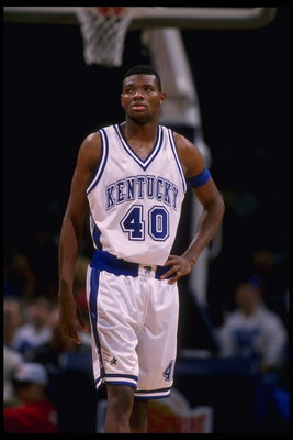 29 Nov 1995:  Forward Walter McCarty #40 of the Kentucky Wildcats wears a glazed look on the court during the Great eight game against the Massachusetts Minutemen at The Palace in Auburn Hills, Michigan.  Massachusetts advanced to the Final Four.  Mandato