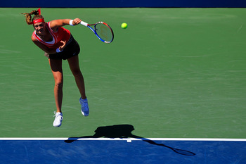 NEW YORK, NY - AUGUST 29:  Petra Kvitova of Czech Republic serves the ball against Alexandra Dulgheru of Romania during Day One of the 2011 US Open at the USTA Billie Jean King National Tennis Center on August 29, 2011 in the Flushing neighborhood of the