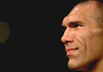 LOS ANGELES, CA - SEPTEMBER 02:  Boxer Nikolai Valuev watches the fight between James Toney and Samuel Peter during their WBC heavyweight title elimination/NABF & IBA heavyweight championship fight at Staples Center on September 2, 2006 in Los Angeles, Ca