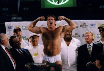17 Aug 1995:  Peter McNeeley flexes before a bout against Mike Tyson. Mandatory Credit: Holly Stein  /Allsport