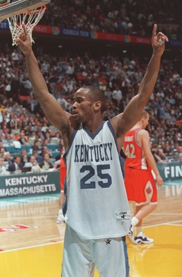 1 Apr 1996:  Anthony Epps #25 of the University of Kentucky celebrates after the Wildcats beat the Syracuse Orangemen 76-67 to win the final of the1996 NCAA Final Four Men''s Basketball Championship at the Continental Air Arena at Meadowlands in East Ruth