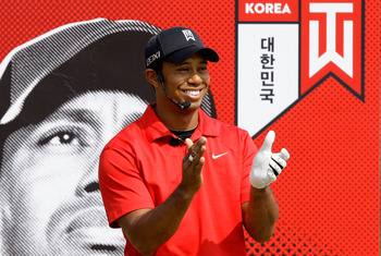 CHUNCHEON, SOUTH KOREA - APRIL 14:  U.S. golfer Tiger Woods participates in a golf teaching clinic for South Korean juniors during a Nike Golf 'Make It Happen' event at Jade Palace Golf Club on April 14, 2011 in Chuncheon, South Korea.  (Photo by Chung Su