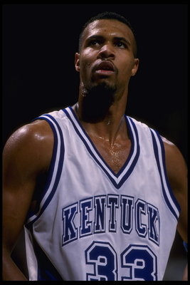 29 Nov 1995:  Guard Ron Mercer #33 of the Kentucky Wildcats pauses on the court during a free throw against the Massachusetts Minutemen at The Palace in Auburn Hills, Michigan, in the Great eight tournament. Massachusetts advanced to the Final Four.  Mand