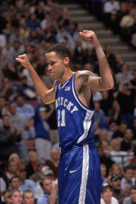 18 Dec 2001:  Tayshaun Prince #21 of the Kentucky Wildcats celebrates during the college basketball game against the Duke Blue Devils, part of the Jimmy V Classic at Continental Airlines Arena in East Rutherford, New Jersey.  Duke edged Kentucky 95-92. Ma