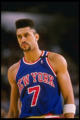 1989-1990:  Kenny Walker of the New York Knicks looks on. Mandatory Credit: Mike Powell  /Allsport