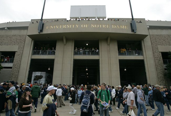 SOUTH BEND, IN - SEPTEMBER 30:  Fans make their way into the stadium for the game between the Notre Dame Fighting Irish and the Purdue Boilermakers September 30, 2006 at Notre Dame Stadium in South Bend, Indiana.  (Photo by Jonathan Daniel/Getty Images)