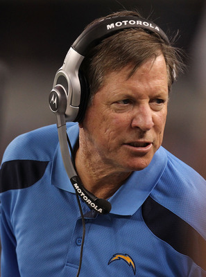 ARLINGTON, TX - AUGUST 21:  Head coach Norv Turner of the San Diego Chargers during a preseason game against the Dallas Cowboys at Cowboys Stadium on August 21, 2011 in Arlington, Texas.  (Photo by Ronald Martinez/Getty Images)