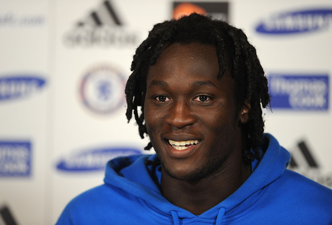 COBHAM, ENGLAND - AUGUST 23:  Romelu Lukaku talks to the press during the Chelsea new signings of Oriol Romeu and Romelu Lukaku press conference on August 23, 2011 in Cobham, England.  (Photo by Christopher Lee/Getty Images)