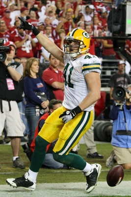 GLENDALE, AZ - JANUARY 10:  Spencer Havner #41 of the Green Bay Packers celebrates his touchdown against the Arizona Cardinals in the fourth quarter of the 2010 NFC wild-card playoff game at University of Phoenix Stadium on January 10, 2010 in Glendale, A