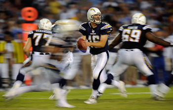 SAN DIEGO, CA - AUGUST 11: Quaterback Scott Tolzien #16 the San Diego Chargers drops back against the Seattle Seahawks during the NFL preseason game at Qualcomm Stadium on August 11, 2011 in San Diego, California.  (Photo by Kevork Djansezian/Getty Images