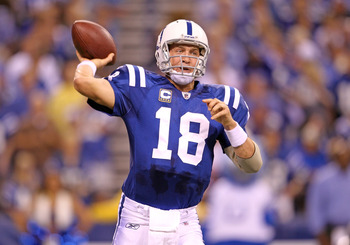 INDIANAPOLIS - SEPTEMBER 19:  Peyton Manning #18 of the Indianapolis Colts throws a pass during  the NFL game against the New York Giants  at Lucas Oil Stadium on September 19, 2010 in Indianapolis, Indiana.  (Photo by Andy Lyons/Getty Images)