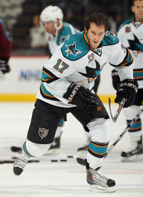 DENVER - NOVEMBER 17:  Torrey Mitchell #17 of the San Jose Sharks warms up prior to facing the Colorado Avalanche at the Pepsi Center on November 17, 2010 in Denver, Colorado. The Avalanche defeated the Sharks 4-3 in overtime.  (Photo by Doug Pensinger/Ge