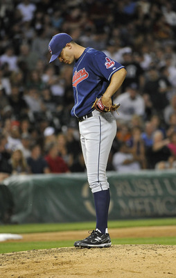 CHICAGO, IL - AUGUST 16:  Starting pitcher Ubaldo Jimenez #30 of the Cleveland Indians stands on the mound during the fifth inning against the Chicago White Sox  at U.S. Cellular Field on August 16, 2011 in Chicago, Illinois.  (Photo by Brian Kersey/Getty