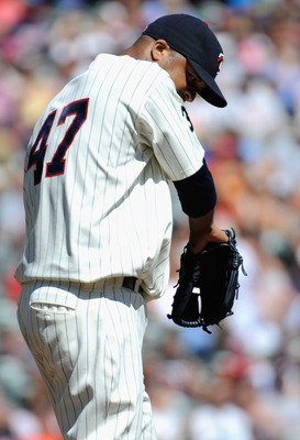 MINNEAPOLIS, MN - AUGUST 25: Francisco Liriano #47 of the Minnesota Twins reacts during the second inning against the Baltimore Orioles on August 25, 2011 at Target Field in Minneapolis, Minnesota. (Photo by Hannah Foslien/Getty Images)