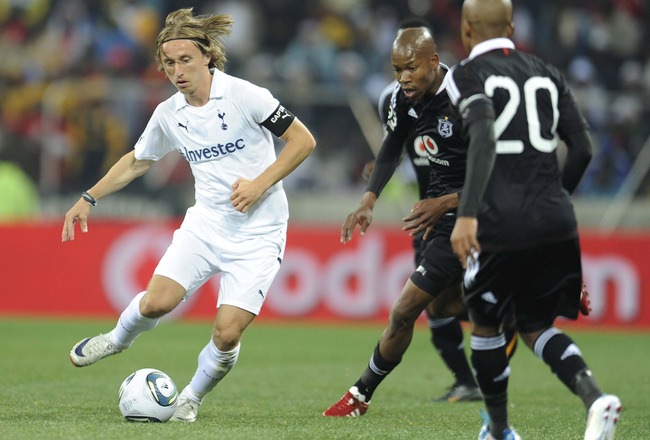 NELSPRUIT, SOUTH AFRICA - JULY 19: Luka Modric of Tottenham in action during the 2011 Vodacom Challenge match between Orlando Pirates and Tottenham Hotspur from Mbombela Stadium on July 19, 2011 in Nelspruit, South Africa. (Photo by Lefty Shivmabu /Gallo