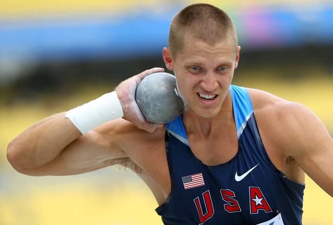 DAEGU, SOUTH KOREA - AUGUST 27: Trey Hardee of United States competes in the shot put in the men's decathlon during day one of the 13th IAAF World Athletics Championships at the Daegu Stadium on August 27, 2011 in Daegu, South Korea.  (Photo by Mark Dadsw