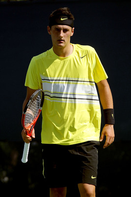 NEW YORK, NY - AUGUST 29:  Bernard Tomic of Australia looks on against Michael Yani of the United States during Day One of the 2011 US Open at the USTA Billie Jean King National Tennis Center on August 29, 2011 in the Flushing neighborhood of the Queens b